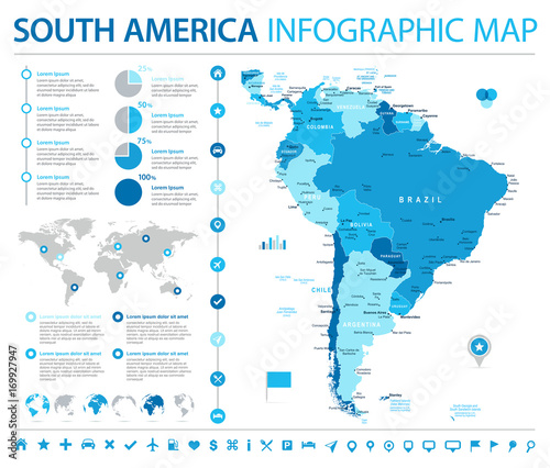 Photo  South America Map - Info Graphic Vector Illustration
