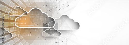 Modern cloud technology. Integrated digital web concept - fototapety na wymiar