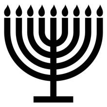 Menorah Silhouette. Menorah For Hanukkah, Vector Illustration. Religion Icon