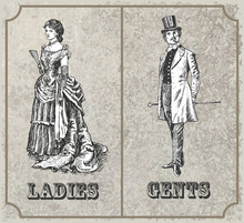 Victorian Lady And Gentleman. Toilet Sign, Vector Format. Vintage Victorian Era Engraving Style Retro Vector Lineart Hand Drawn Sketch Illustration