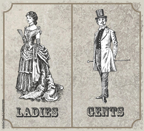 Victorian Lady And Gentleman Toilet Sign Vector Format Vintage Classy Bathroom Sign Vector Style