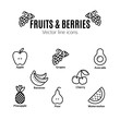 Fruit and Berries icon set. Vegan natural bio pictograms. , bananas, grapes, avocado, watermelon and others organic food signs.
