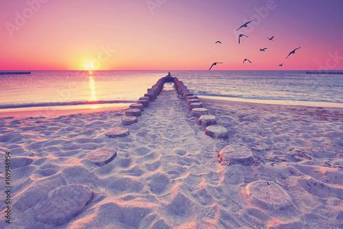 Foto-Schiebegardine Komplettsystem - romantischer Blick übers Meer (von Jenny Sturm)