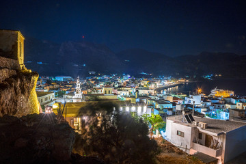 High night view from the castle of traditional village of Paleochora, Crete, Greece.