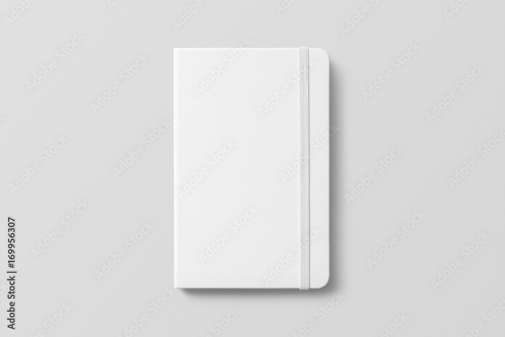 Fototapeta Blank photorealistic notebook mockup on light grey background.