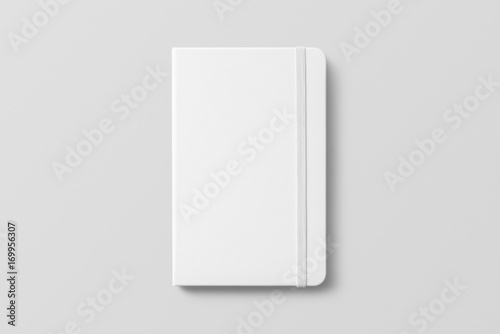 Foto  Blank photorealistic notebook mockup on light grey background.