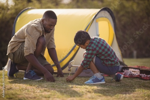 Fotografie, Obraz  Father and son pitching their tent in park