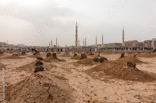 Ancient graves in Jannat Al Baqi Cemetery in Medina Saudi Arabia
