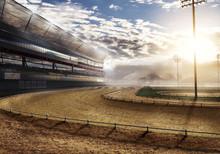 Empty Race Track Near Mountain...
