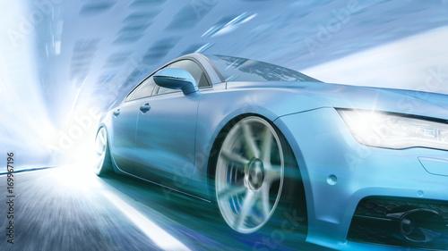 Szybki samochód w futurystycznej scenie