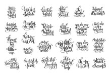 Set Of 25 Black And White Hand...