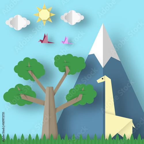 Foto op Canvas Groene koraal Paper Origami Concept.