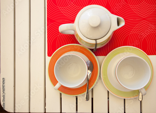 Stampe  two teacups and teapot