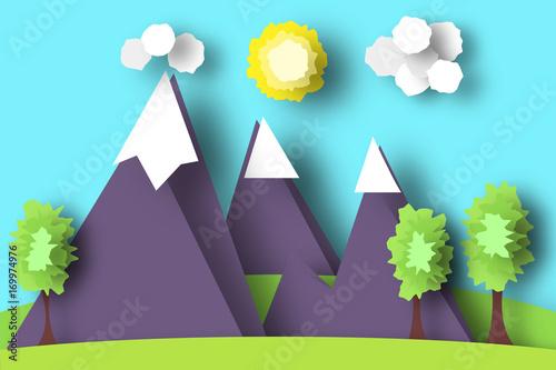 Spoed Foto op Canvas Turkoois Mountain Scene Paper World.