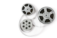 Old Film Strip On White Background. Top View.
