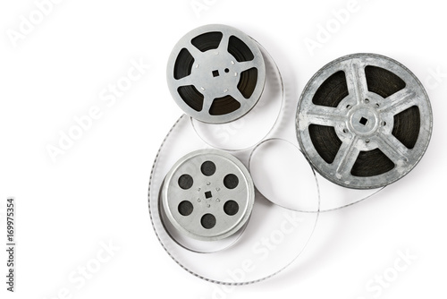 Old film strip on white background. Top view. Fototapet