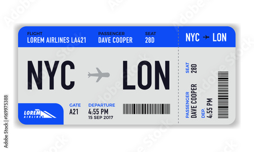 Fotografía  Modern and realistic airline ticket design with flight time and passenger name