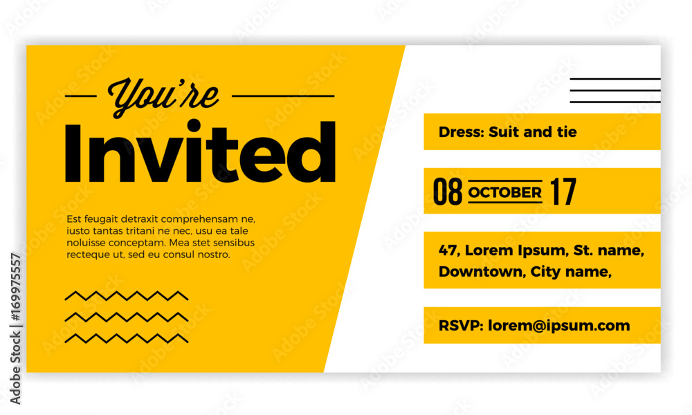 Fototapety, obrazy: You are Invited design voucher template for weddings, party, cocktails, meetups. Modern, minimal, simple & luxury standard layout concept.