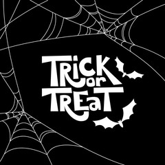 Trick or treat isolated quote and Halloween design elements. Vector holiday black and white illustration. Hand drawn doodle letters, bat and spiderweb for poster, greeting card, print or banner.