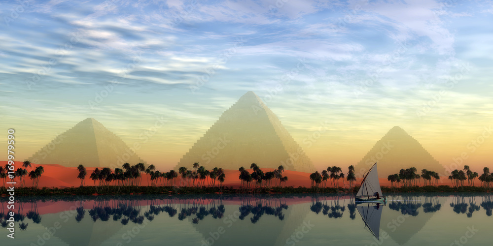 Fototapety, obrazy: The Great Pyramids and Nile River - The Great Pyramids stand majestically over the Nile River running through the land of Egypt.