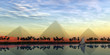 canvas print picture The Great Pyramids and Nile River - The Great Pyramids stand majestically over the Nile River running through the land of Egypt.