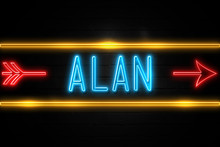 Alan  - Fluorescent Neon Sign On Brickwall Front View