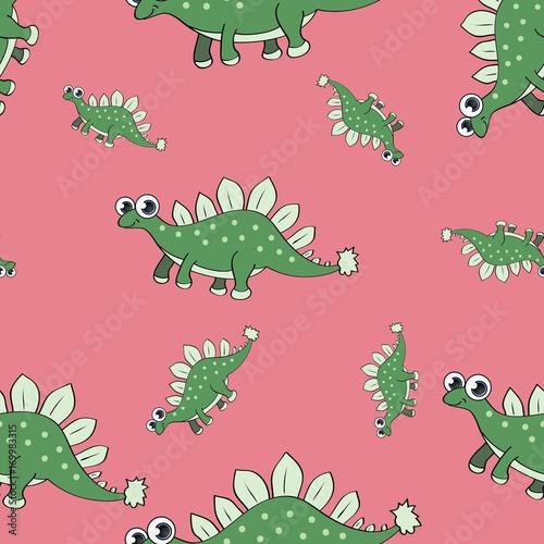 zielone-dinozaury-na-rozowym-tle