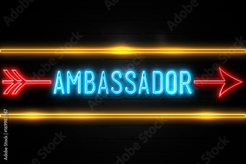 Photo Ambassador  - fluorescent Neon Sign on brickwall Front view