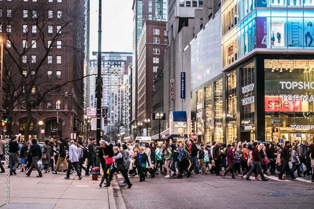 Fototapeta michigan ave crowds cross street