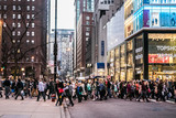 michigan ave crowds cross street
