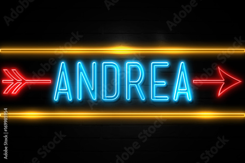 Andrea  - fluorescent Neon Sign on brickwall Front view Canvas Print
