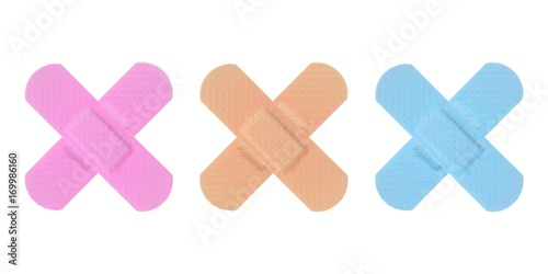 Various Colored Strips of ADHESIVE BANDAGES PLASTER - Medical Equipment - Colorf Wallpaper Mural
