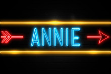 Annie  - Fluorescent Neon Sign On Brickwall Front View