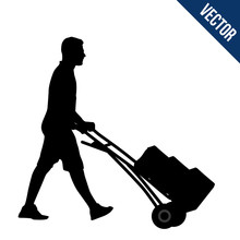 Delivery Man Silhouette Carryi...