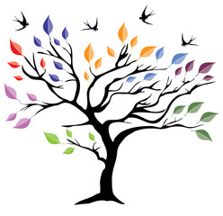 Fototapeta Drzewa Vector Tree With Colorful Leaves