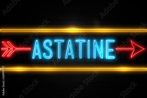 Astatine  - fluorescent Neon Sign on brickwall Front view Wallpaper Mural