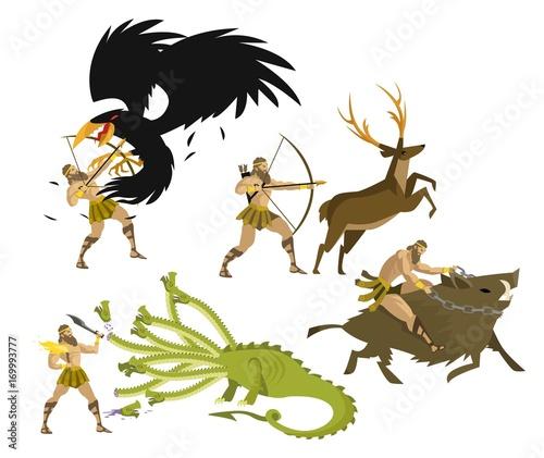 greek mythology hercules heracles performing labours Fototapet