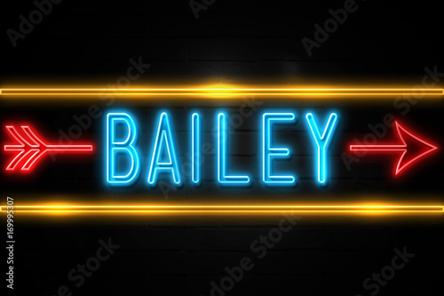 фотография  Bailey  - fluorescent Neon Sign on brickwall Front view