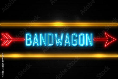 Bandwagon  - fluorescent Neon Sign on brickwall Front view Canvas Print