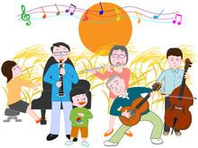秋の満月の夜の家族によるコンサート