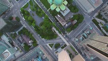 Montreal Quebec Aerial V72 Flying Low Over Downtown Buildings Looking Down Vertically