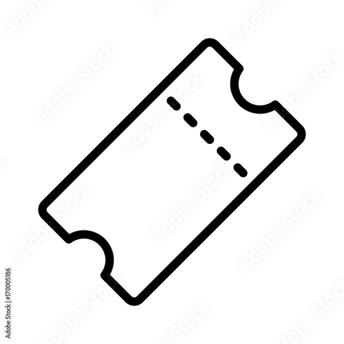 Fotografie, Obraz  Movie ticket stub or theater admission with perforation line art vector icon for