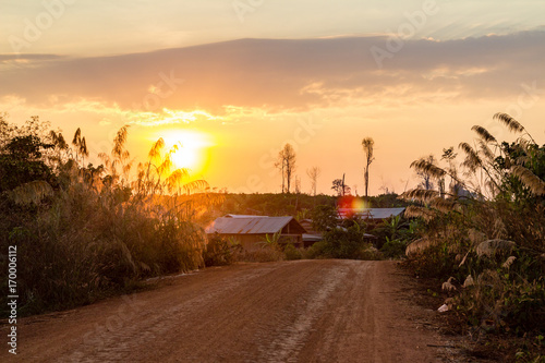Foto op Plexiglas Bruin Red ground and dust on the rural road in Cambodia