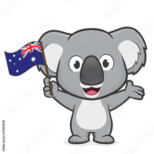 Fototapeta premium Koala holding australian flag