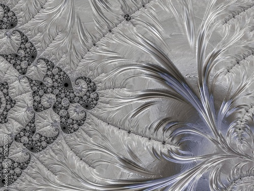 Silver fractal created in 3d. Rich look to decorate any card, vignette, invitation letter, background for website or social networks.