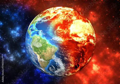 Fototapeta Planet Earth burning, global warming concept. Elements of this image furnished by NASA obraz