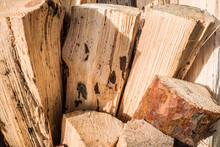 Chopped A Tree For Firewood. The Texture Of Cut Wood. Hiking Fuel For Camping. Natural Chopped Wood.