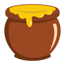 Pot Of Honey Icon In Flat Style Vector Illustration For Design And Web