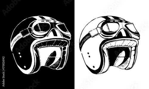 Cafe racer print t-shirt emblem helmet Fototapeta
