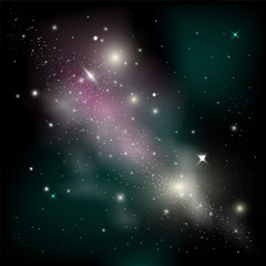 Cosmic background with shining stars. Abstarct Vector illustration of Milky Way Galaxy.